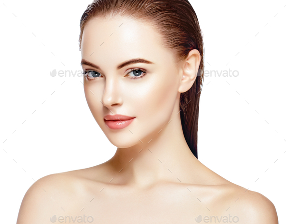 Beautiful woman face close up portrait young studio on white - Stock Photo - Images