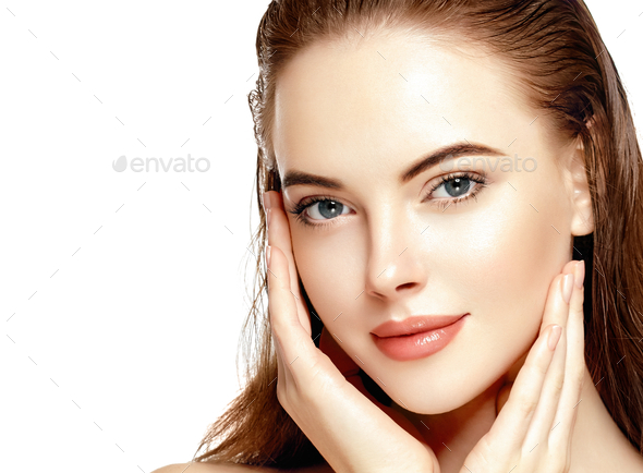 Beautiful woman with wet hair closeup face - Stock Photo - Images