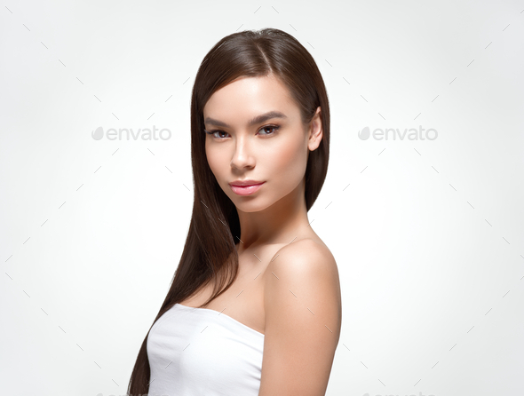 Beautiful hair smooth long brunette woman healthy hairstyle young happy female isolated on white - Stock Photo - Images