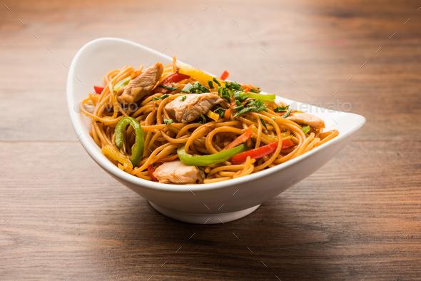 Chicken Hakka Noodles - Stock Photo - Images