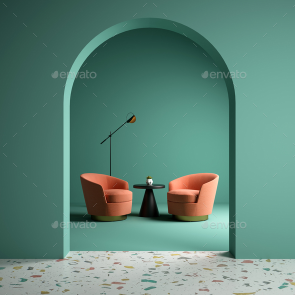 Memphis style conceptual interior room 3d illustration - Stock Photo - Images