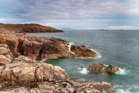 The wild and rugged coastline of the Isle of Harris - Stock Photo - Images