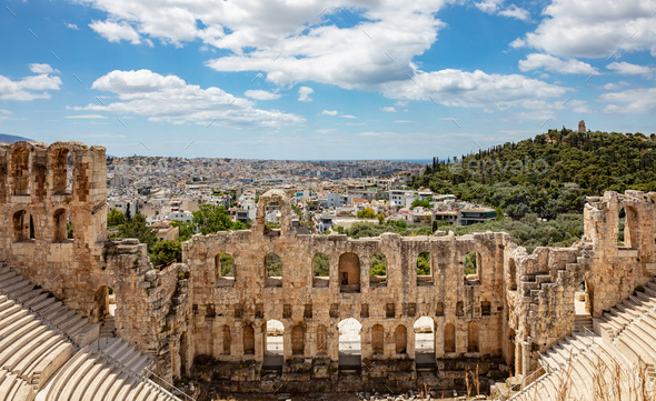 Odeon of Herodes Atticus on Acropolis hill in Athens, Greece - Stock Photo - Images