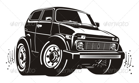 Vector Cartoon Jeep - Miscellaneous Characters