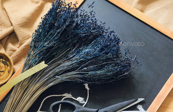 The dried dark blue flowers for the craft - Stock Photo - Images