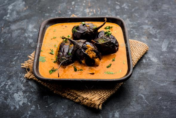 Eggplant Curry / Baingan Masala - Stock Photo - Images