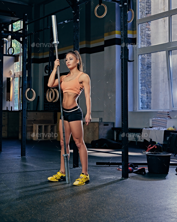 Female model holds barbell over trx straps stand in a gym. - Stock Photo - Images