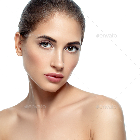 Beautiful young woman natural make up classic beauty portrait - Stock Photo - Images