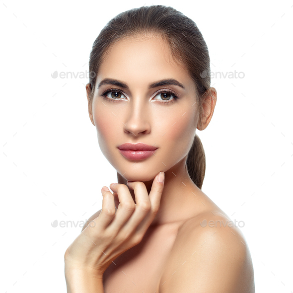 Nice  young woman natural make up classic beauty portrait - Stock Photo - Images