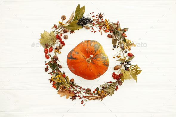 Pumpkin in beautiful fall leaves wreath - Stock Photo - Images