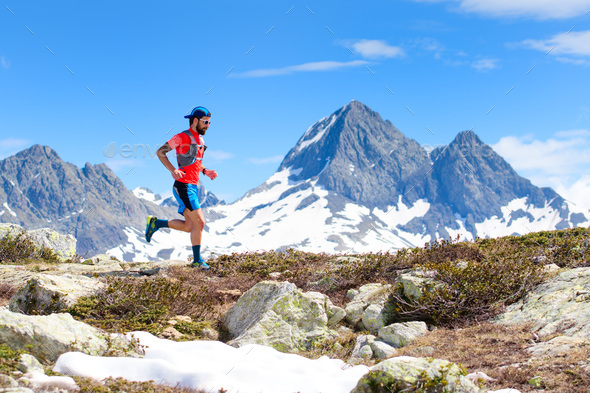 An ultra trail running athlete man - Stock Photo - Images