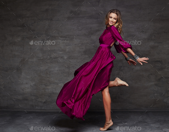 Female in long red dress - Stock Photo - Images
