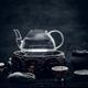 Glass transparent teapot and exotic ceramic mugs. - PhotoDune Item for Sale