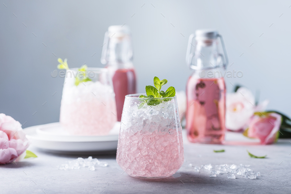Pink cocktail with crushed ice - Stock Photo - Images