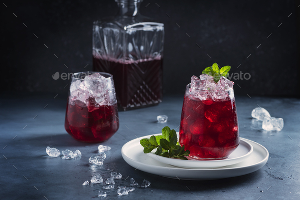 Red cockatil with ice and mint - Stock Photo - Images
