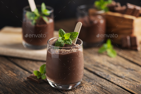 Sweet mousse with chocolate - Stock Photo - Images