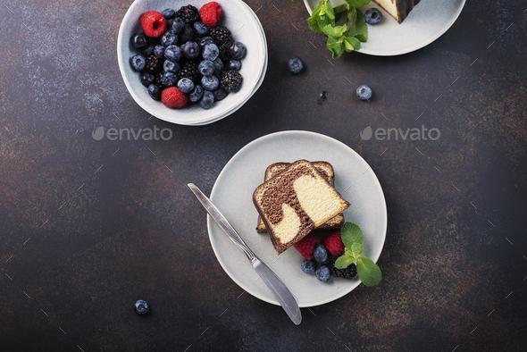 Sweet marble plumcake - Stock Photo - Images
