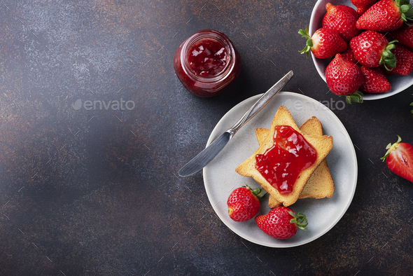 Toasts with strawberry jam - Stock Photo - Images