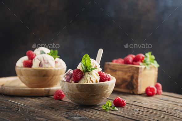 Summer ice cream with raspberry - Stock Photo - Images