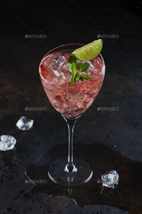 Summer cocktail with rose wine - Stock Photo - Images