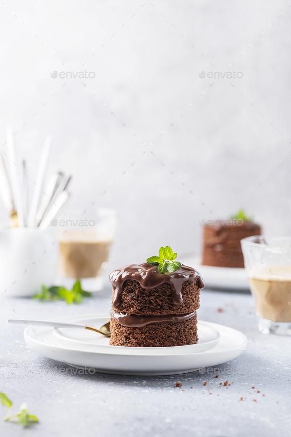 Chocolate mini cake with chocolate ganash and mint - Stock Photo - Images