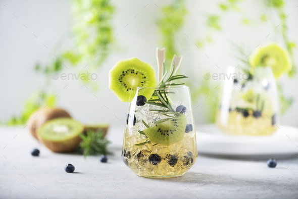 Summer cocktail with kiwi - Stock Photo - Images