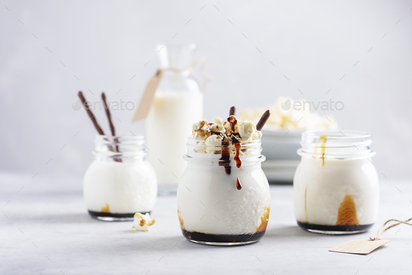 Smoothie with milk and caramel - Stock Photo - Images