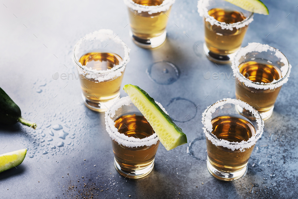 Traditional mexical tequila with cucmber - Stock Photo - Images