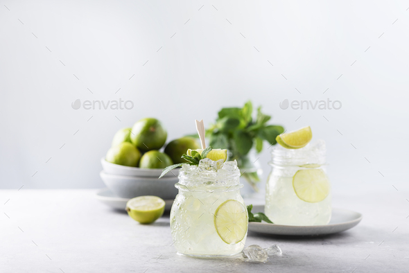 Mojito cocktail with lime - Stock Photo - Images