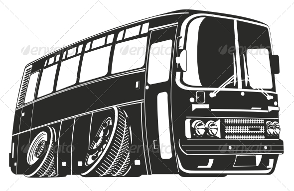 Vector Cartoon Bus - Travel Conceptual