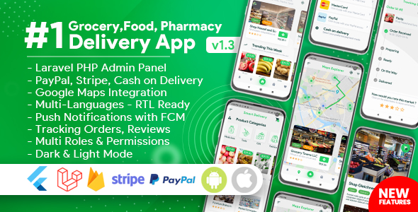 Grocery, Food, Pharmacy, Store Delivery Mobile App with Admin Panel Nulled