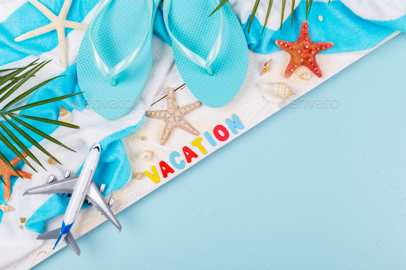 Vacation concept beach accessories - Stock Photo - Images