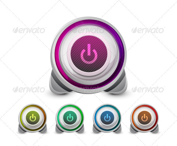 Vector Power Buttons - Computers Technology