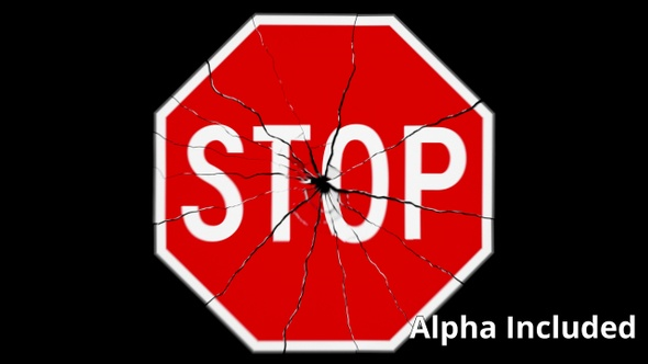Red and White Stop Sign Shattering with Matte