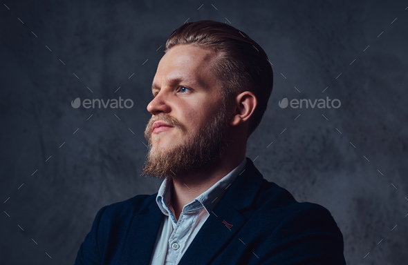Portrait of stylish blond bearded male dressed in a suit. - Stock Photo - Images