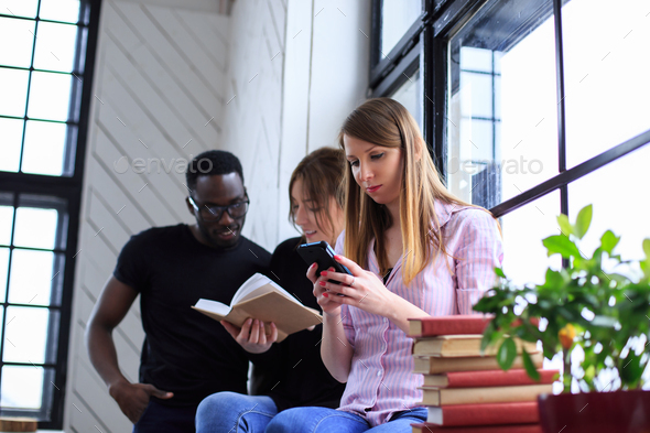 International group of people working with laptop. - Stock Photo - Images