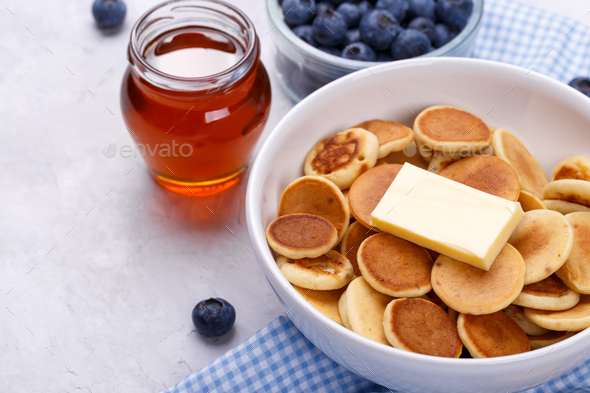 Mini pancakes with blueberries - Stock Photo - Images
