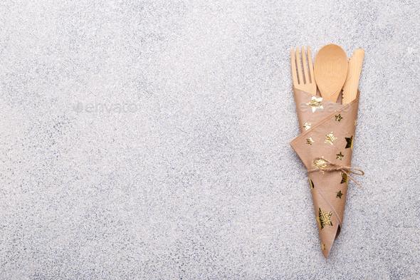 Zero waste bamboo cutlery - Stock Photo - Images