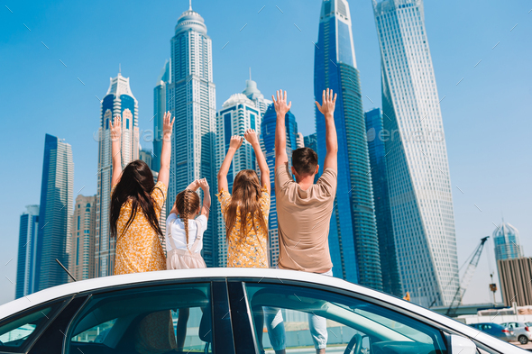 Summer car trip and young family on vacation - Stock Photo - Images