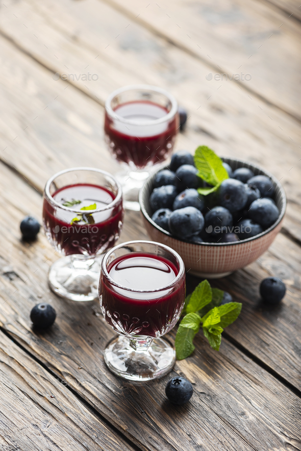 Sweet blueberry liqueur - Stock Photo - Images