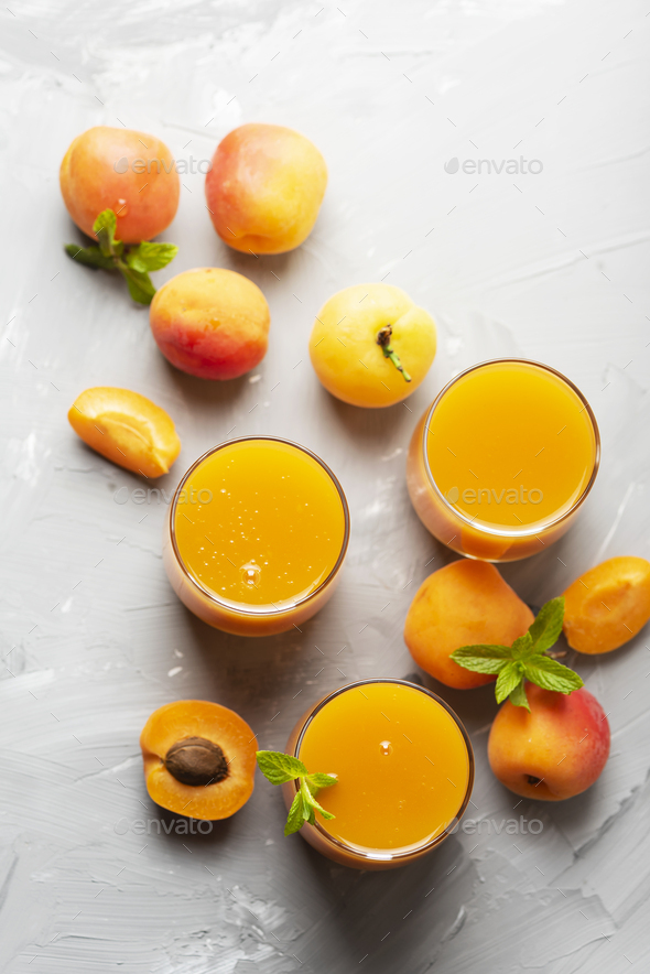 Fresh apricot juice on the marble table - Stock Photo - Images