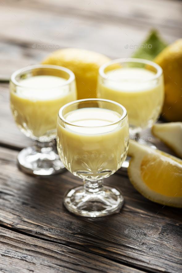 Traditional Italian liguore with lemon - Stock Photo - Images