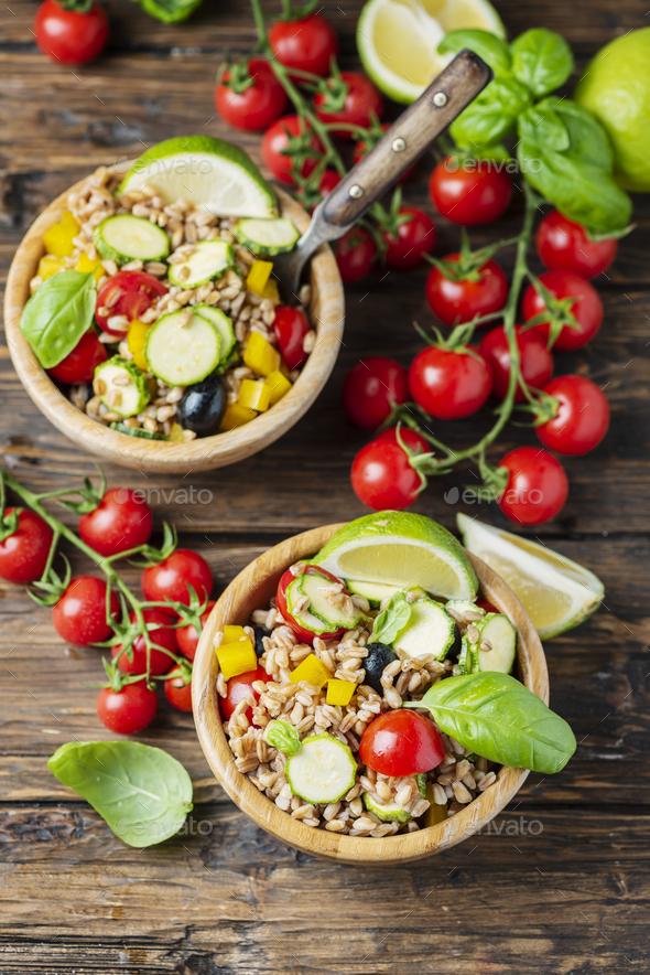 Vegan pearl barley salad - Stock Photo - Images