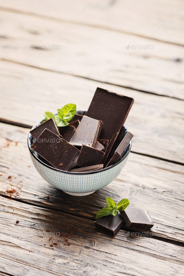 Dark chocolate with mint - Stock Photo - Images