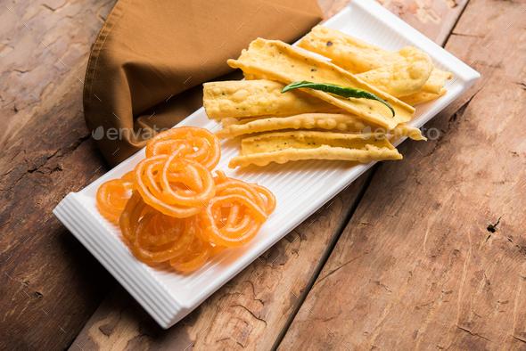 Crispy Fafda Jalebi - Stock Photo - Images