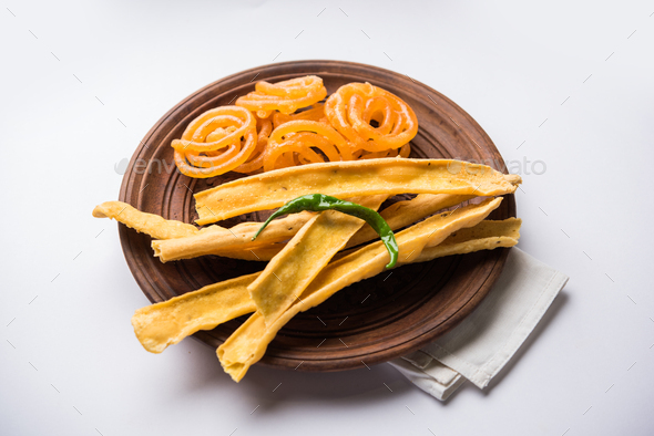 Crispy Fafda Jalebi - Stock Photo - Images