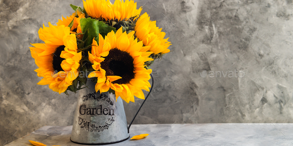 Yellow Sunflower Bouquet in Garden Jar - Stock Photo - Images