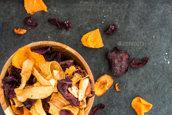 Bowl of Healthy Snack from Vegetable Chips, Crisps - Stock Photo - Images
