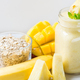 Mango, Banana, Pineapple and Oatmeal Smoothie in the Jar - PhotoDune Item for Sale