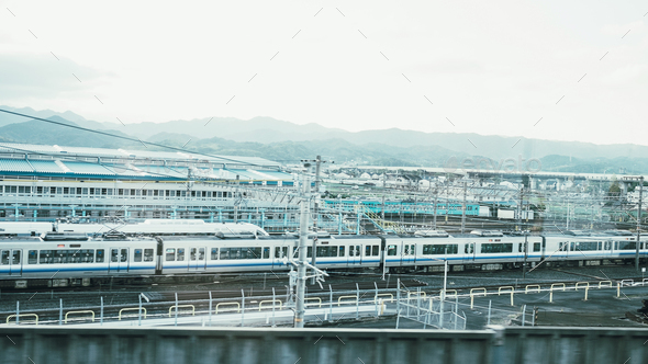 White monorail train is parking in station - Stock Photo - Images